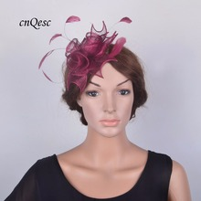 NEW WINE Small Combs Sinamay flower Fascinator with Feathers for wedding,kentucky derby,party,races,church