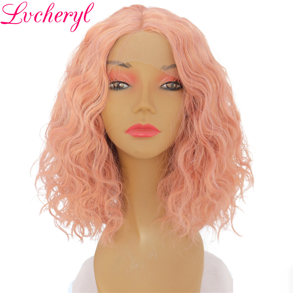 Lvcheryl Mixed Pink Color Short Water Wave Hand Tied Full Density Glueless Heat Resistant Synthetic Lace Front Wigs for Makeup