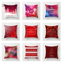 Fuwatacchi Christmas Santa Snow Tree Deer Cushion Cover Happy New Year Throw Pillow Cover Decorative Sofa Pillow Case Pillowcase christmas tree printed decorative thick throw pillowcase
