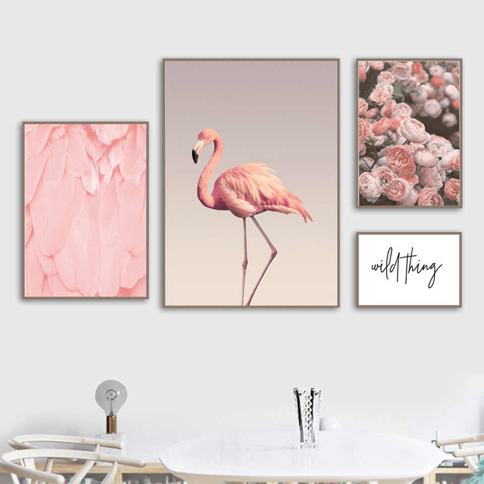 Flamingos Poster Flower Painting Canvas Pictures Home Decor Nordic Watercolor Minimalist Style Wall Art Prints Modular Bedroom