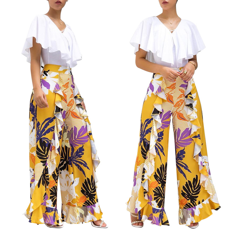 2019 Summer Bohemian Style Fashion Long Pants Floral Print Trousers For Women Wide Leg Pants Capris D111