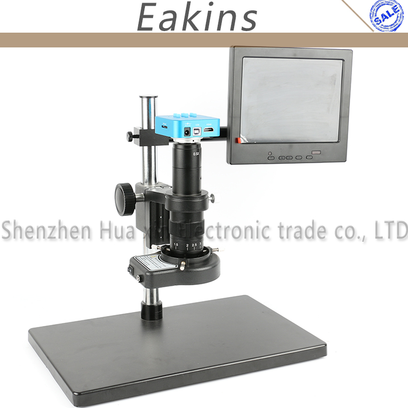 16MP 1080P 60FPS HDMI USB Industry Digital Video Microscope Camera+Big Stand+300X/180X C-MOUNT Lens+144 LED Light Ring+8 LCD