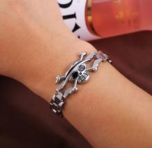 One Piece silver skull plating alloy bracelet