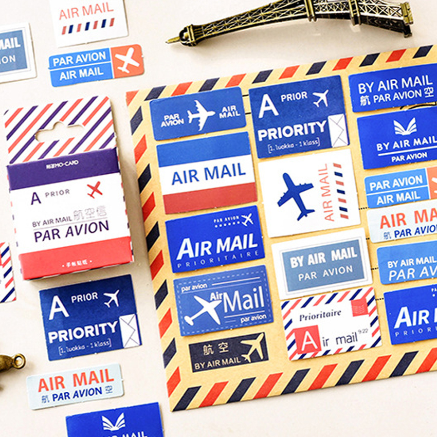 45PCS/pack Cute Air Mail Retro Air Letter  Diary Sticker Planner Scrapbooking Sticky Stationery School Supplies45PCS/pack Cute Air Mail Retro Air Letter  Diary Sticker Planner Scrapbooking Sticky Stationery School Supplies