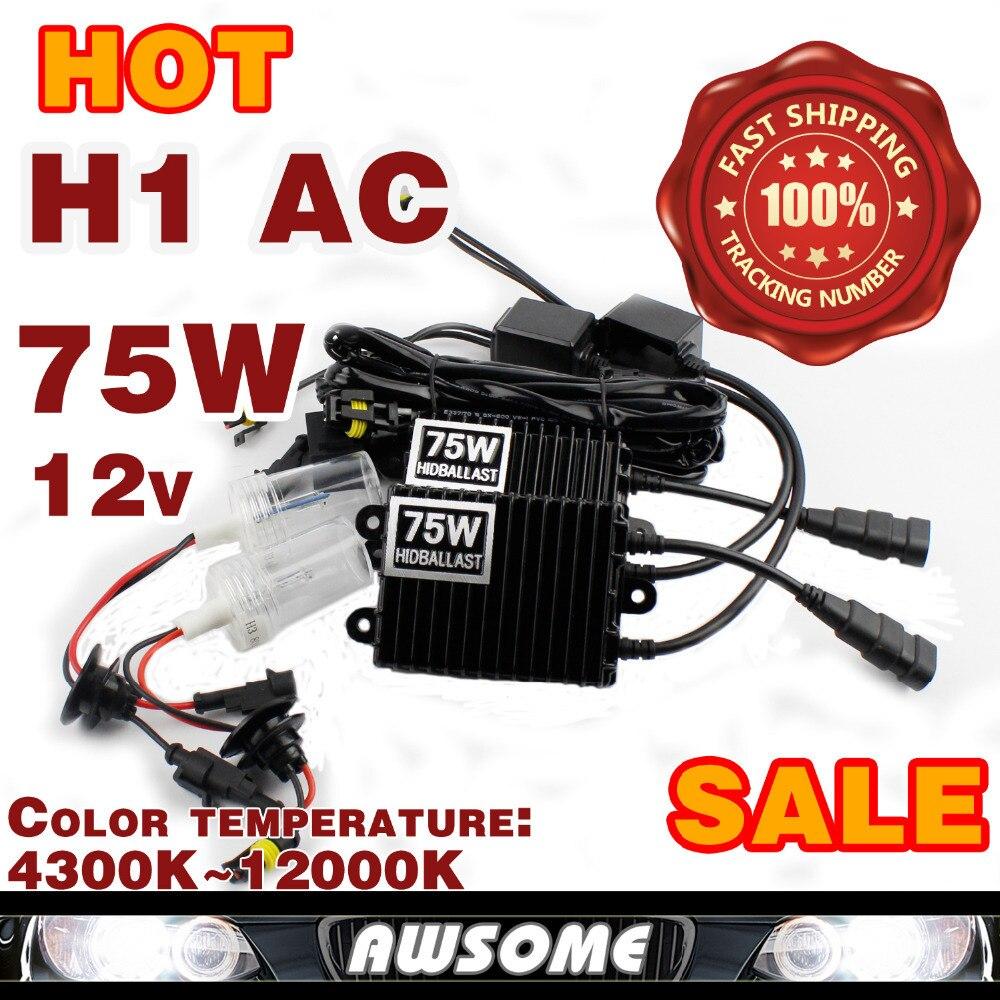 75W Xenon HID Kit Car Headlight H1 H3 H7 H8 H9 H10 H11 9005 HB3 9006 HB4 Xenon Bulb 4300K-12000K AC 12V 75W HID Slim Ballast