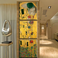 ZZ1620 3 Panel Modern Abstract Gustav Klimt Kiss Painting Picture Canvas Art Replca Wall Pictures For