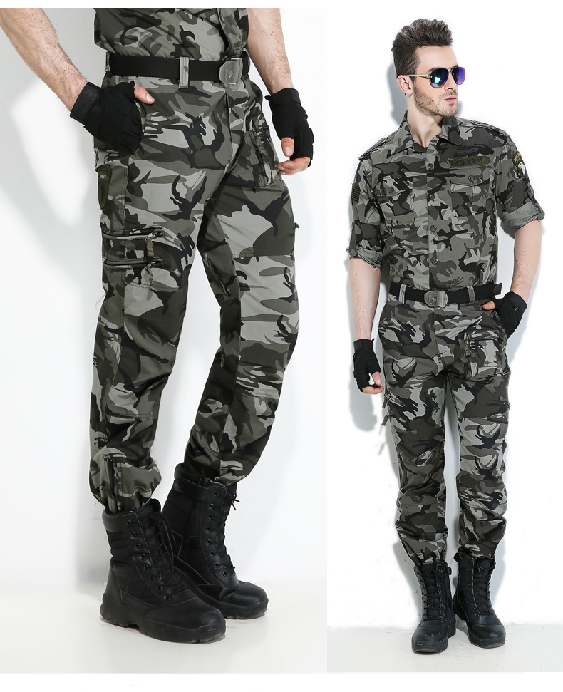 Free Shipping Autumn-Summer Army Green Black Camouflage Pants Loose Large Size Jeans Baggy Cargo Cool Pants For Men