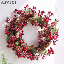 Foreign trade excellent products artificial berry wreath Christmas natural rattan plant DIY home party holida