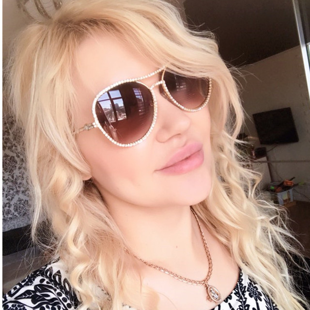 b2776453710e Luxury Women Decorative Rhinestone Sunglasses Brand Designer Copper Frame  Points Sun Glasses Vintage Mirror Pilot Sunglass New