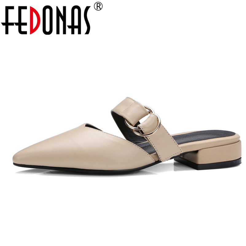 FEDONAS Brand Women Sandals Genuine Leather Low Heel Summer Elegant Pointed Toe Shoes Women Buckles Gladiator Slippers Sandals novline autofamily ssangyong kyron 2006 2 0 дизель 2 3 бензин акпп мкпп