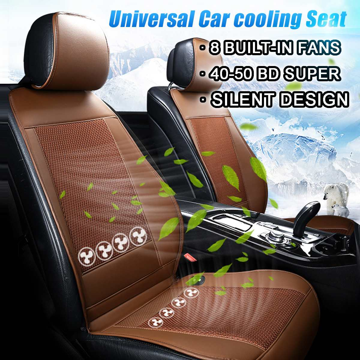12V Car Cooling Seat Air Conditioned Car Front Seat Cover Cushion Fan Breathable