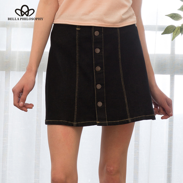 Bella Philosophy 2017 spring summer women's single breasted denim skirt highly stretchy light blue navy blue black smoky gray