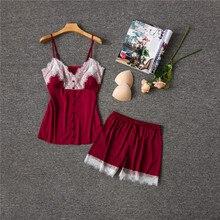 Herislim Summer Pajamas For Women Sleepwear Satin Cami Top And Shorts 2Pcs Pyjamas Sexy Sleeveless Lace Pajama Sets Home Clothes