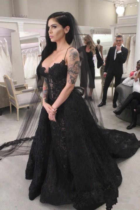 2019 Black Lace Gothic Wedding Dresses Bridal Gowns With
