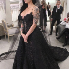 4ac6de373 2019 black Lace Gothic Wedding Dresses Bridal Gowns with Detachable Train  Sweep Train Mermaid Bridal Gown