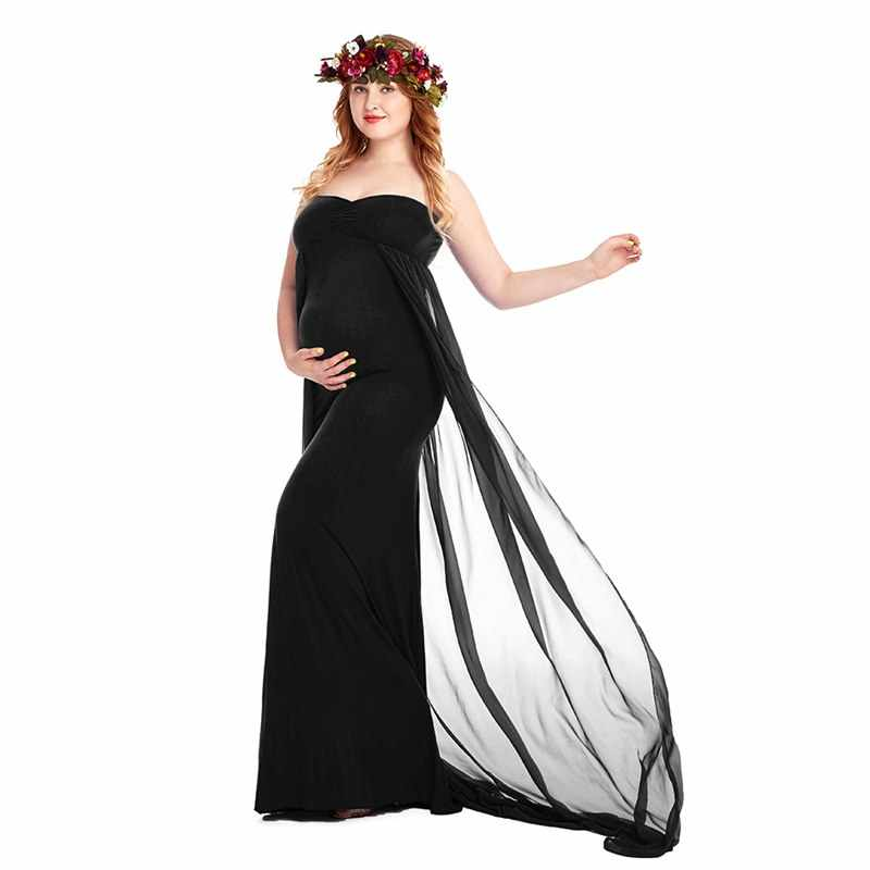 5c9952fd287e3 MUABABY Women Strapless Full Length Maxi Dress for Photography Lady Ruched  Maternity Long Tube Gown Baby Shower Pregnant Clothes