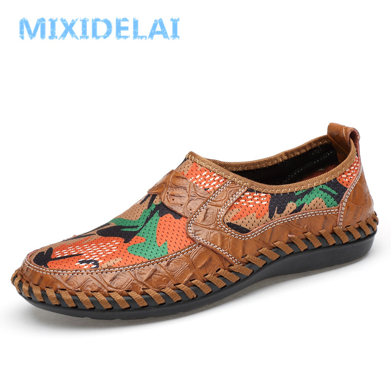 MIXIDELAI Men Shoes 2018 Summer Breathable Mesh Shoes Mens Casual Shoes Leather Fashion Summer Shoes Man Soft Comfortable цена