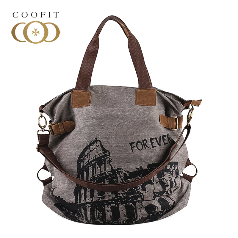 Coofit Vintage Women Canvas Handbags Large Capacity Travel Crossbody Bags Casual Female Girls Shopping Shoulder Bag Tote Daypack squirrel fashion large canvas patchwork vogue vintage zipper pattern brand versatile crossbody women travel tote shoulder bags