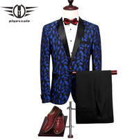 Plyesxale Royal Blue Mens Suit Floral Prom Suits Stage Wear Costume Homme Mariage 2018 Slim Fit Mens Suits With Pants Q297