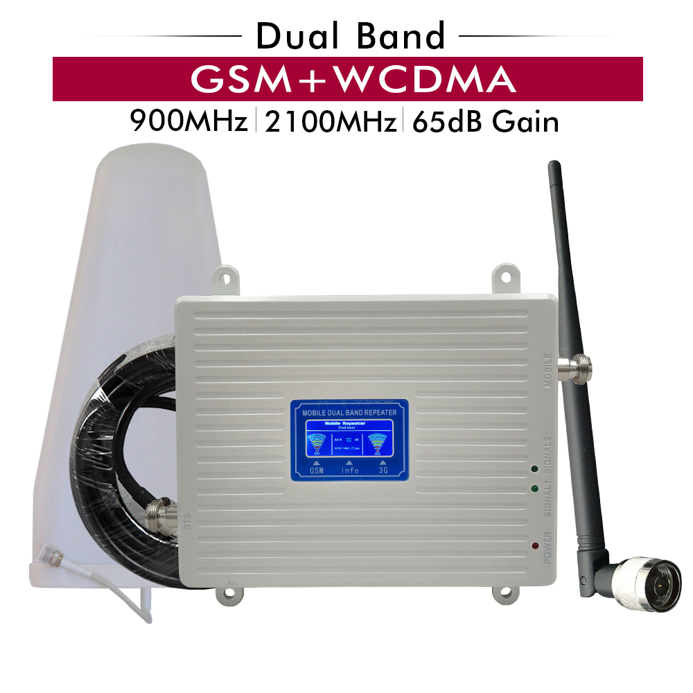 65dB Gain Dual Band Signal Repeater Kit 2G GSM 900+3G UMTS WCDMA 2100 Cellular Mobile Signal Booster Amplifier Antenna Full Set