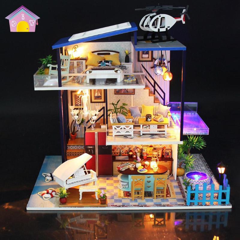 купить 2019 New Furniture Doll House Wooden Miniature DIY DollHouse Furniture Kit Assemble with Dust Cover Doll Home Toys For children по цене 2199.04 рублей