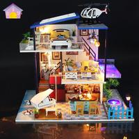 2019 New Furniture Doll House Wooden Miniature DIY DollHouse Furniture Kit Assemble with Dust Cover Doll Home Toys For children