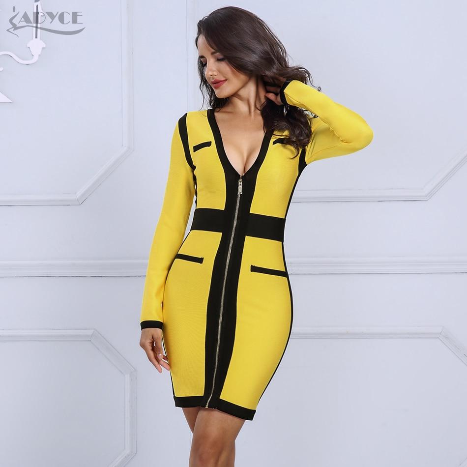 Adyce Bodycon Bandage Dress Vestidos Women 2019 New Arrivals Yellow Sexy V Neck Long Sleeve Dress