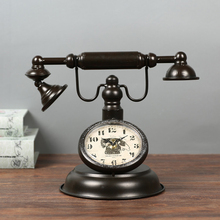 Retro Wrought iron Telephone Model Clock sitting room Desk Table Clocks coffee shops Handicraft furnishing articles