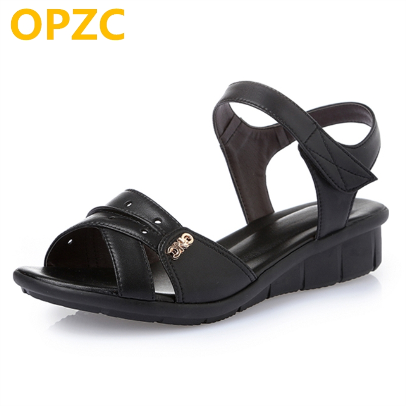 OPZC 2018 new big size 42 43 44 Flat women's sandals, summer genuine leather Roman sandals, female Flat casual mother's shoes aiyuqi big size women shoe 41 42 43 2018 new women s sandals genuine leather casual comfort wedges open toe roman sandals female