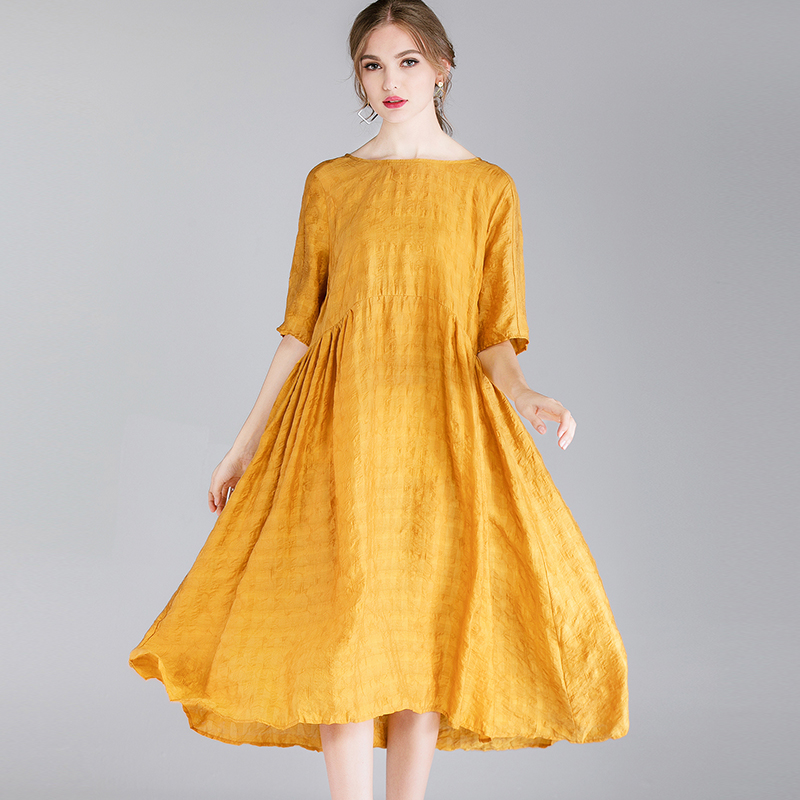 Summer Dress Women  Solid Plus Size Black Spring 2019 Woman Yellow Party Short Sleeve Elegant Bohemian Dresses Lady
