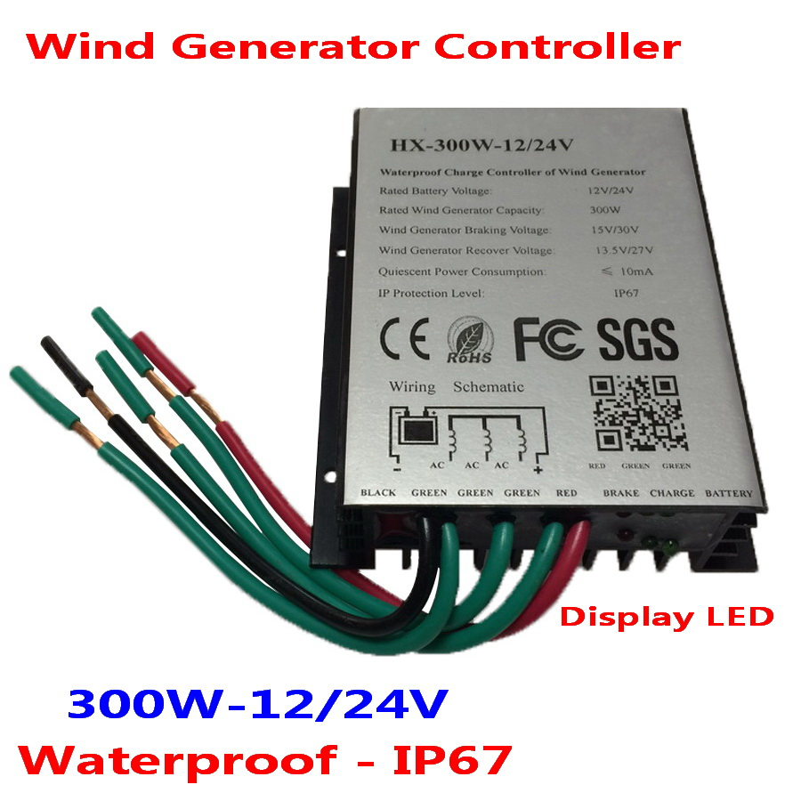 300W waterproof wind turbine charge controller 12V/24V suitable for 0-300W wind turbine generator wind generator 300w 12v 24v vertical axis wind turbine with 300w wind charge controller and 1000w inverter