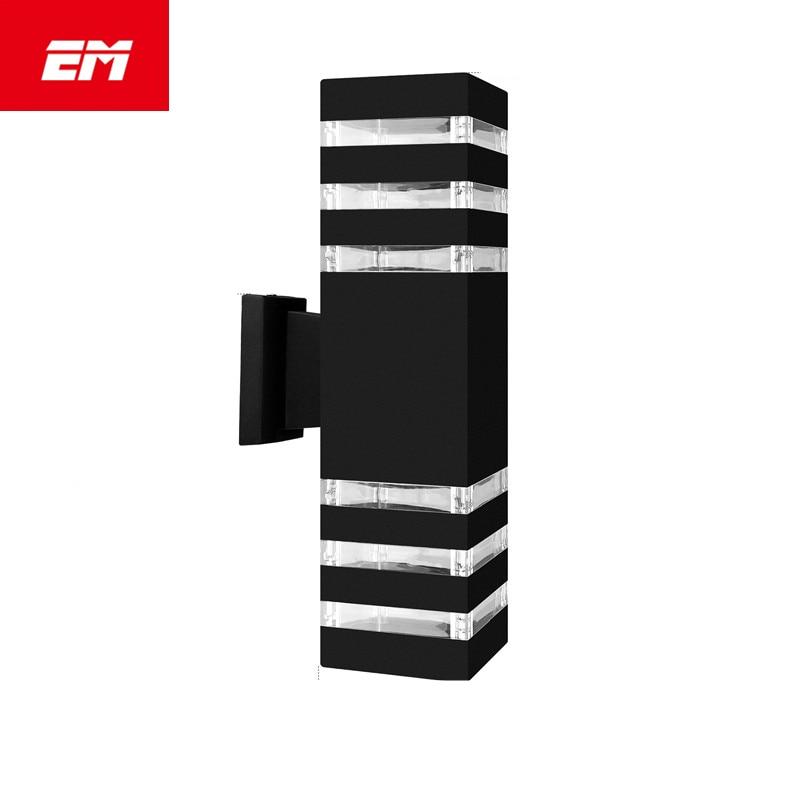 Modern Waterproof Up Down Wall Lamp Aluminum Cuboid LED Wall Light Fixtures Dual Head Outdoor E27 Socket AC 85-240V ZBD0028 rouda best 36w 36 led wall light die casting aluminum modern cuboid wall lamp outdoor decoration home lighting ac 85 265v