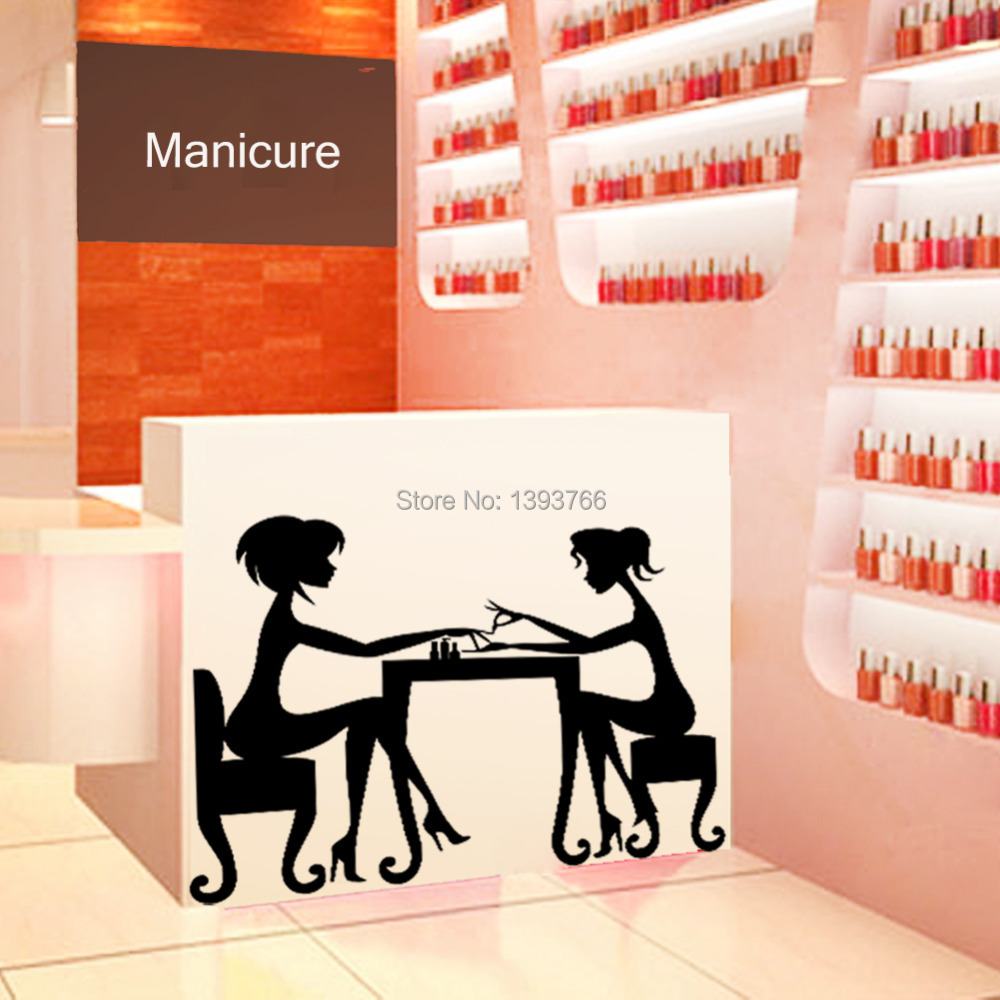 Buy hot nail bar shop hair beauty salon wall art stickers de - Decoration mural salon ...