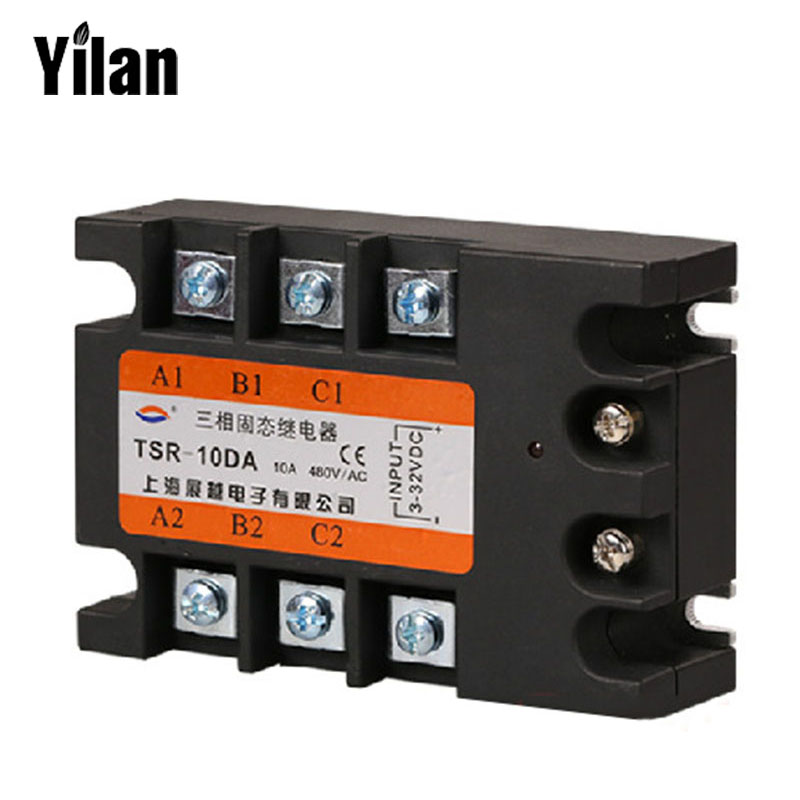 ФОТО 10DA TSR-10DA-H Three-phase High Voltage Type SSR Input 4-32V DC Load 90-480V AC Single Phase AC Solid State Relay