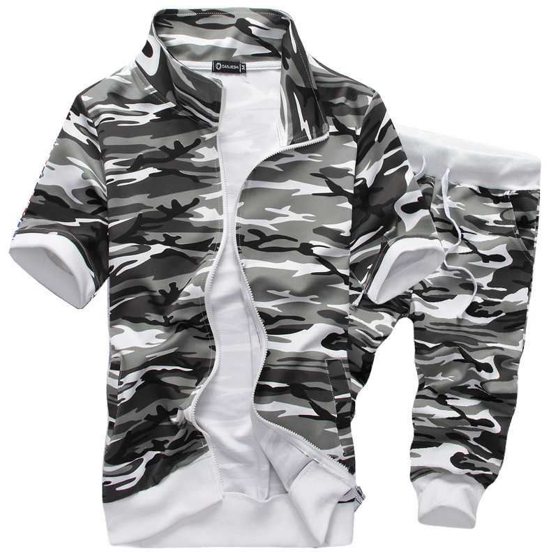 2018 New Fashion Men Clothes Summer Brand Casual Tracksuit Men Camouflage Short Sleeve Shirts Pants Cotton Sets Plus Size 3XL