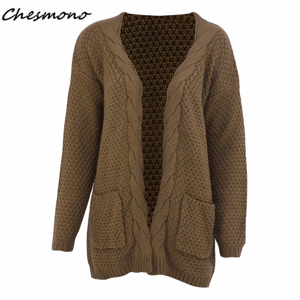 2017 Casual twist knitting long open front cardigan sweater female ...