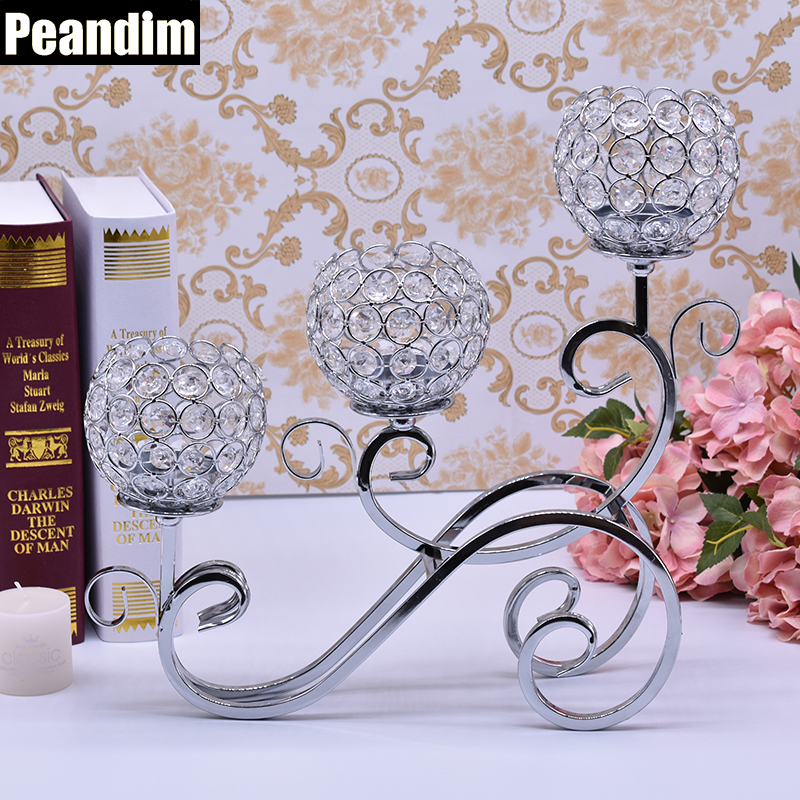 PEANDIM European Style Decorative Candle Holders Gold Candle Lantern Wedding Crystal Candleabra for Romantic Candlelight Dinner(China)