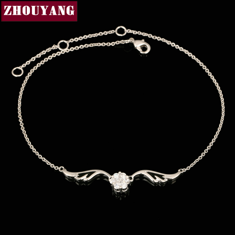 ZHOUYANG Top Quality ZYH082 Silvery Angell Wing White Gold Plated font b Bracelet b font Jewelry