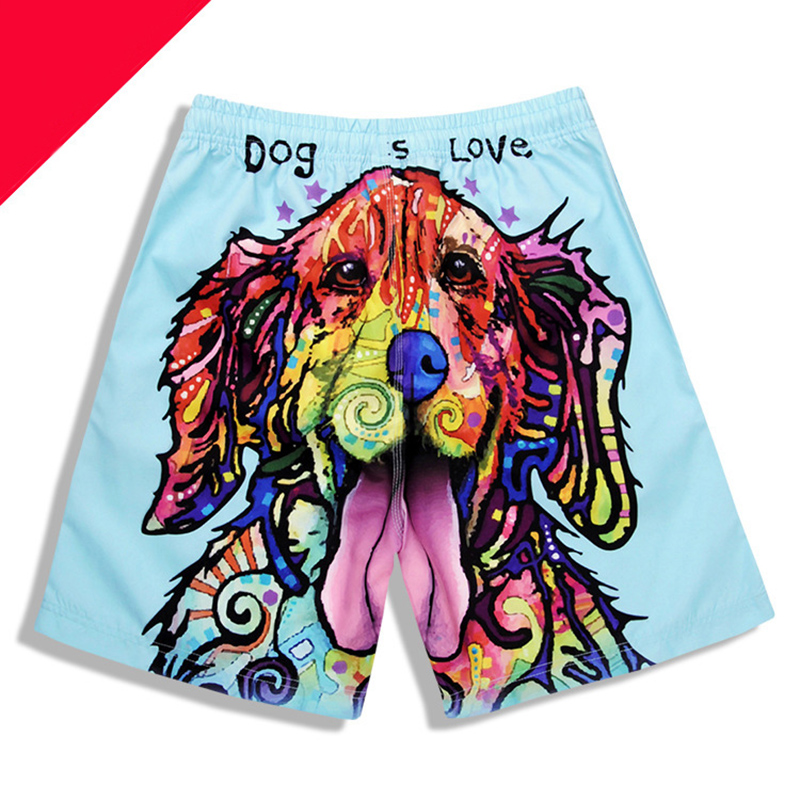 Newest Men's 3D Dog Head Printed Beach   Shorts   Cute Dog Printing   Board     Shorts   Men Surfing   Short   Trousers Man Loose Beach Pants