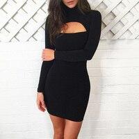 Turtleneck Bodycon Dress Female 2017 Hollow Out Vestidos Slim Long Sleeve Sexy Club Dress Vintage Short
