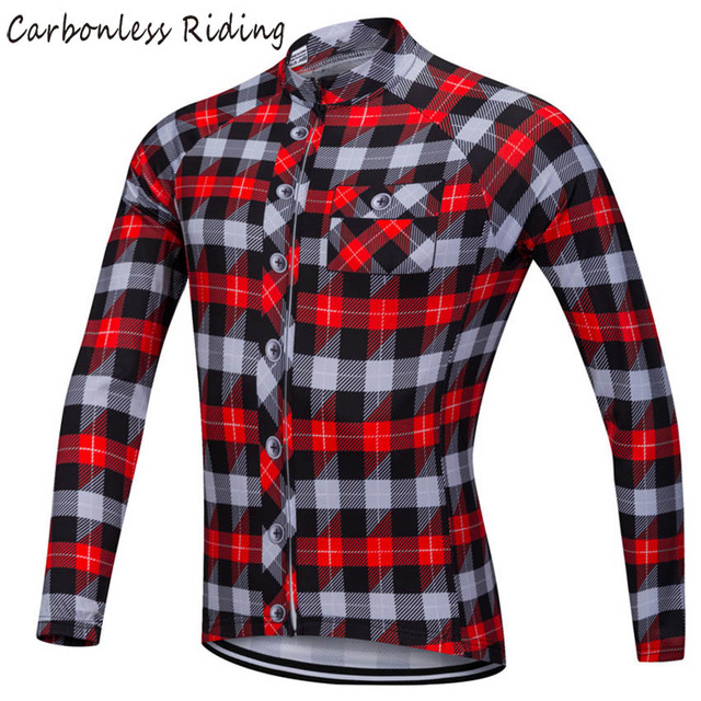 dcce8def7 Red Blue Plaid Men s Cycling Jersey Long Sleeve Quick-Dry Bicycle Clothing  Cycling Wear Shirt MTB Jerseys Tops for Spring Autumn