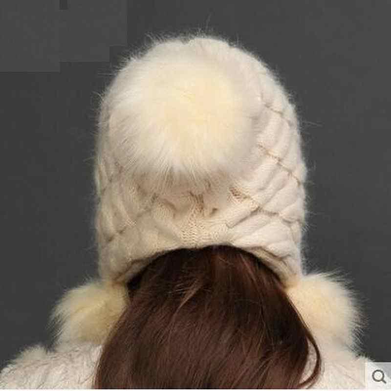 Chapéu Do inverno Genuine Natural Real de Lã Tampas de Pele De Coelho Malha de Lã Chapéus Pompom Chapelaria Skullies Gorros Femininos Para Meninas M1620
