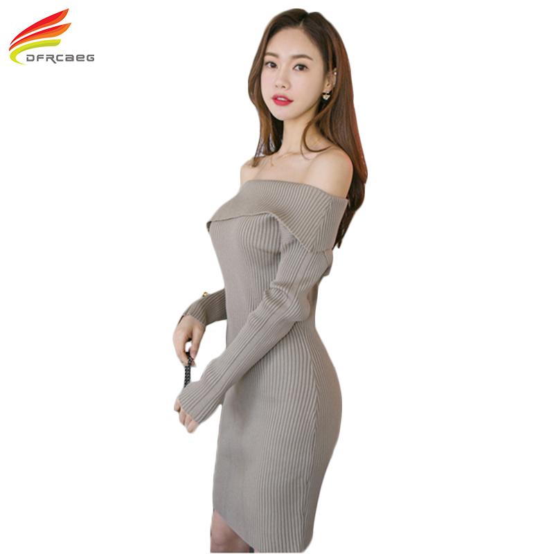 Long Sleeve Sweater Dresses For Winter Knitted Sweater Dress Thicken Warm Women Clothing Slash Neck Sexy Pencil Dress Woman hot sell winter warm knitted cap camouflage cotton fashion skullies thicken skullies beanies hats for women 2 style 8409