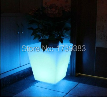 Free Ship Outdoor Colorful Height 26cm Pp Glow Led Flower Tub Plant Pot Light Wireless Battery Illuminated Ice Bucket Square