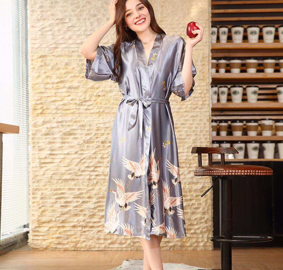 Women Long Sexy kimono Silk Robe Satin Bathrobe Black Long Bridal Robes  Print Bride Bathrobe Red Wine Gray XXXL A06-in Robes from Underwear    Sleepwears on ... b42a1c7810d5