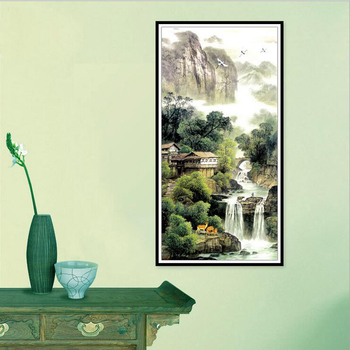 diamond mosaic 2017 wall stickers 3d diamond painting Chinese landscape waterfall picture diamond embroidery rhinestone