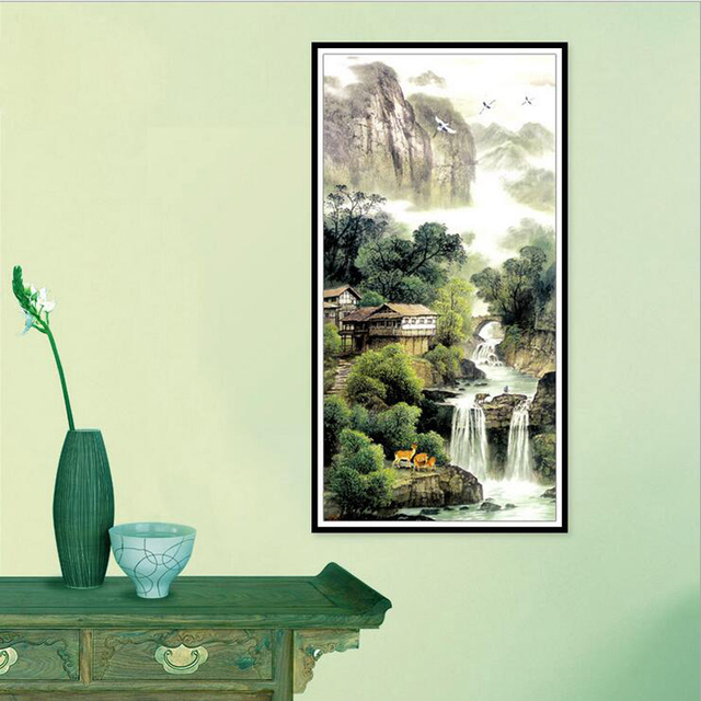diamond mosaic 2017 wall stickers 3d diamond painting Chinese landscape waterfall picture diamond embroidery rhinestone full