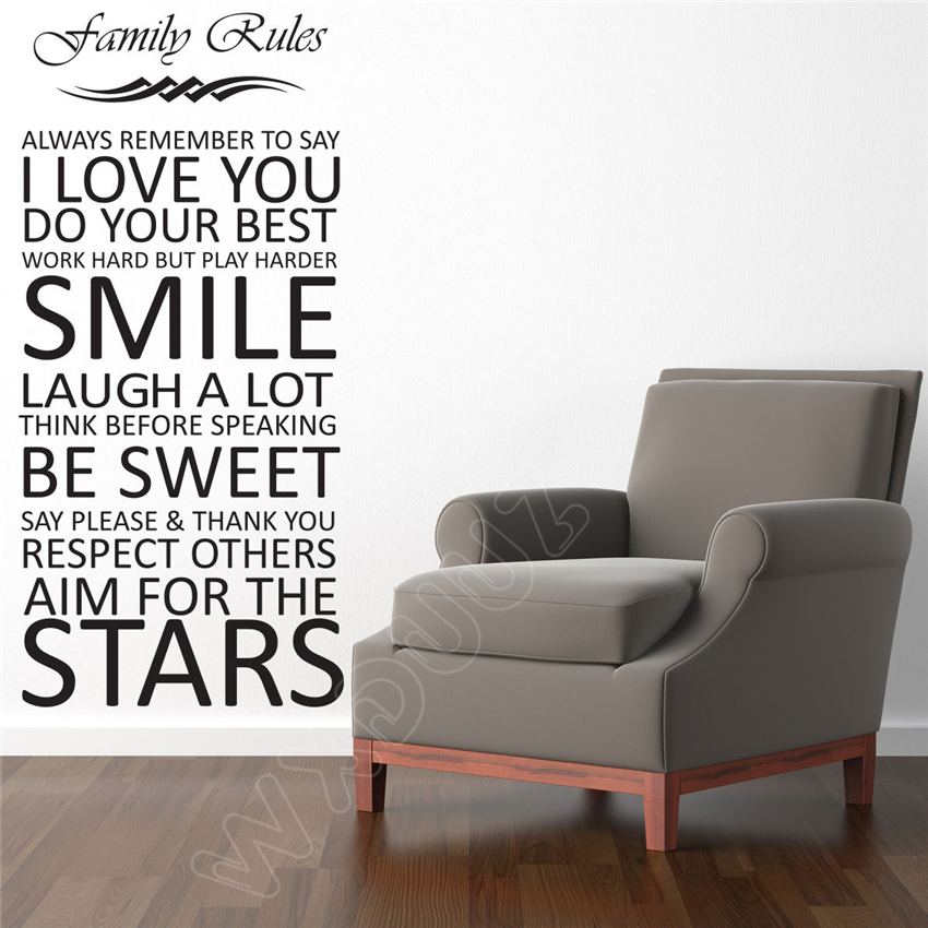 WXDUUZ LARGE FAMILY RULES QUOTE MURAL Art Decor Home Decor Removable Vinyl Wall Sticker Room Wall Decor B18