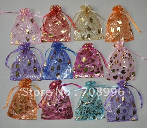 Wholesale Organza Jewelry Gift Pouch Bags 11*15cm Mix Color Mix Designs Candy Bags
