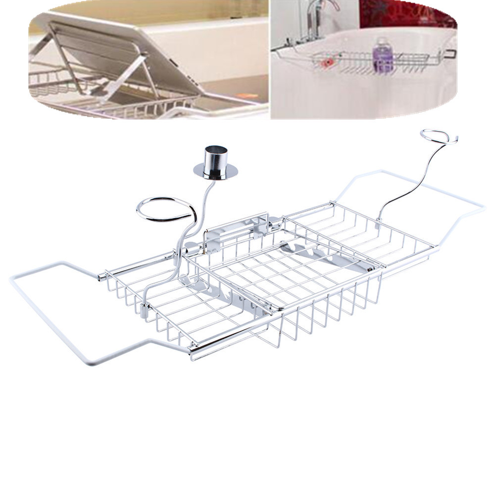 Online Shop Bathtub Tray Shower Caddy Shelf Storage Chrome Bath Tub ...